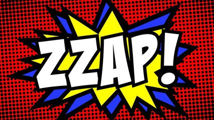 A comic strip cartoon with the word Zzap. Halftone background, star shape effect.