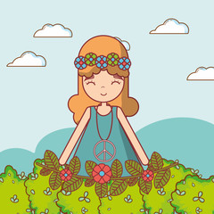 Hippie girl cartoon