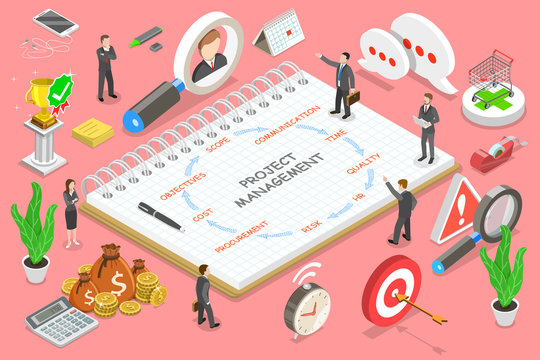 Isometric flat vector concept of project management, business multitasking, achieving project goals, company managing.