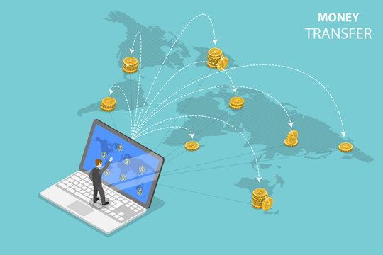 Isometric flat vector concept of sending money around the world, money transfer, online banking, financial transaction.