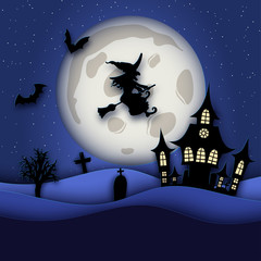 Paper art Halloween night background with haunted house, bat, graves, witch flying on a broomstick and fool moon. Modern paper cut style flyer or invitation template for halloween party.