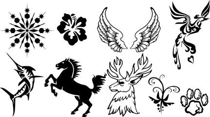 タトゥー素材のシルエット