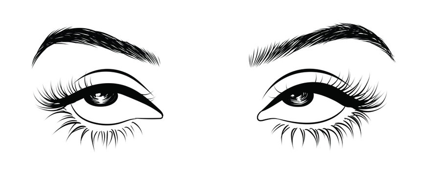 Illustration of woman's sexy expressive  eye roll with perfectly shaped eyebrows and full lashes. Hand-drawn Idea for business visit card, typography vector. Perfect salon look.Hollow style
