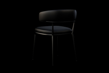Black leather chair with metal legs. 3d render
