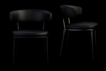 Black leather chairs with metal legs. 3d render