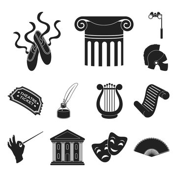 Theatrical art black icons in set collection for design.Theater equipment and accessories vector symbol stock web illustration.
