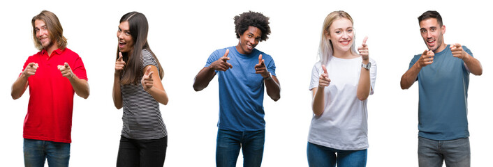 Composition of african american, hispanic and caucasian group of people over isolated white background pointing fingers to camera with happy and funny face. Good energy and vibes.