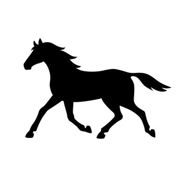 Isolated black silhouette of running, trotting horse on white background. Side view.