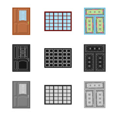 Isolated object of door and front icon. Collection of door and wooden vector icon for stock.