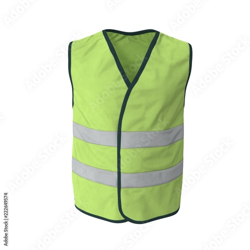 1dc1a72109 Yellow High Visibility Safety Jacket. Isolated 3D Illustration On White  Background