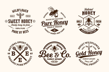 Vector honey vintage logo