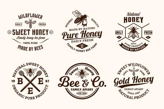 Vector honey vintage logo