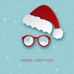 Merry Christmas greeting card with paper Santa Claus hat and sunglasses with winter town reflection. Modern paper cut style background. Vector illustration