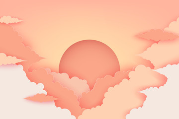 Paper fluffy clouds and sun in the sky. Modern 3d paper cut style background in pastel colors. Beautiful cartoon sunset or sunrise