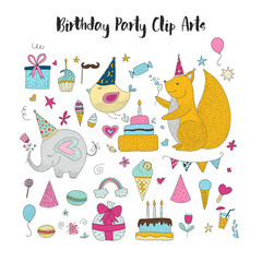 Big set of birthday party vector clip arts. Cute hand drawn animals and cartoon elements.