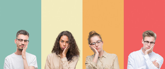 Collage of a group of people isolated over colorful background thinking looking tired and bored with depression problems with crossed arms.