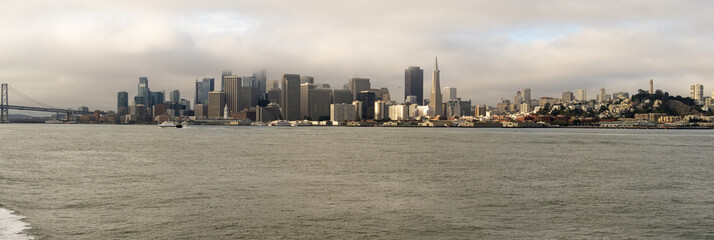 Long Panoramic View of San Francisco California from the Bay