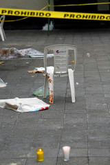 A view of a crime scene on the edge of the tourist Plaza Garibaldi in Mexico City
