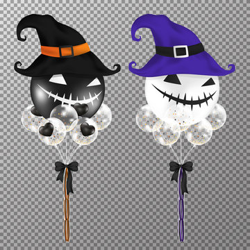 Halloween balloons isolated on transparent background. Realistic Big circle air balloons smile face in black and purple color for decorate invitation card Halloween party design. Vector illustration.