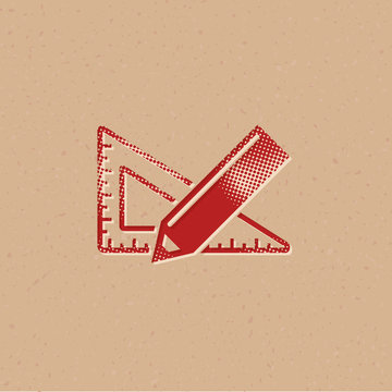 Halftone Icon - Pencil and ruler