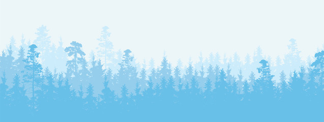 Wide illustration of a coniferous forest in winter weather, more layers and space for text
