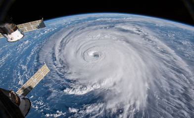 Satellite view. Hurricane Florence over the Atlantic close to the US coast . Elements of this image furnished by NASA.