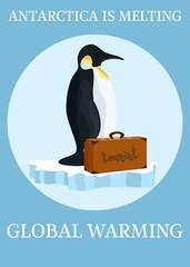 poster global warming penguins at risk