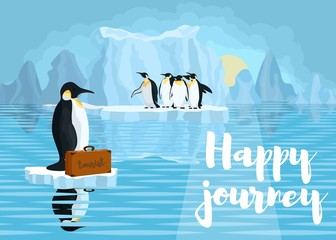 poster with penguins. the fight against global warming of the pl
