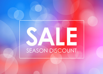 Season discount vector banner. Vector blured background with the frame and text