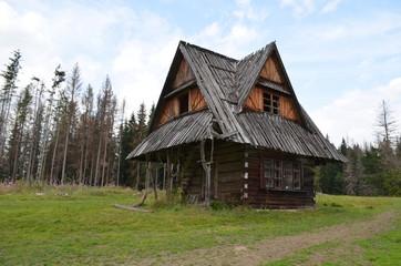 Fototapeta Mały drewniany domek opuszczony po pożarze lasu, Butorowy Wierch, Polska obraz