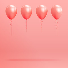 Set of realistic glossy helium balloons floating on pink background. Vector 3D balloons for birthday, party, wedding or promotion banners or posters. Vivid illustration in pastel colors.