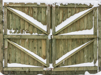 Wooden Gate With Snow