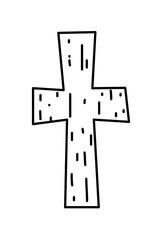 outline religion wood cross catholic symbol