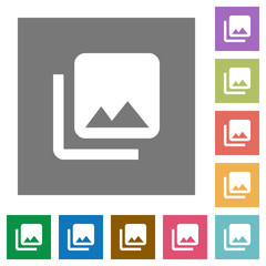Photo library square flat icons