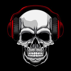 headset skull vector illustration on dark background