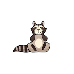 Cartoon vector illustration of raccoon with confused expression.