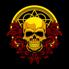 Floral gold Skull colored vector illustration on dark background