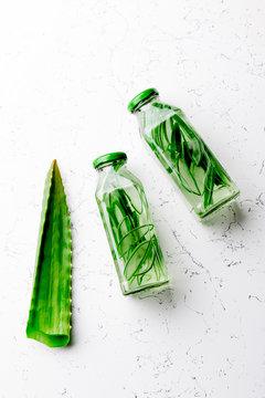 Detox water with aloe vera. Healthy drink. Top view