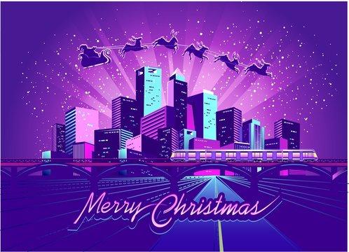 Merry Christmas neon city