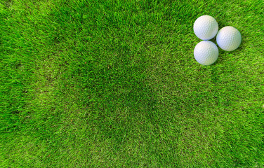 Two Golf Balls Lying on Green Grass View from Above
