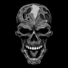 angry skull head gray scale