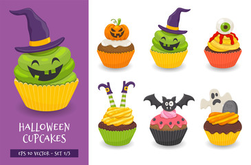 Halloween cupcake set. Cute scary desserts, perfect for party invitations. Vector illustration isolated on a white background. Set 1 of 3.