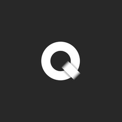 A simple Q logo is a letter in the form of two rings, an initial in a minimalist style, a design element for a business card emblem printing.