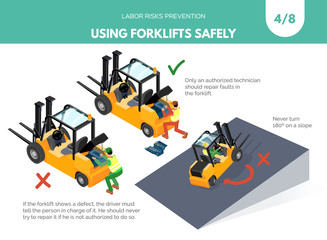 Recomendatios about using forklifts safely. Labor risks prevention concept. Isometric design isolated on white background. Vector illustration. Set 4 of 8