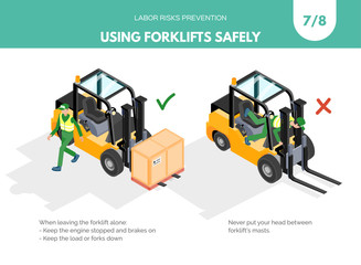 Recomendatios about using forklifts safely. Labor risks prevention concept. Isometric design isolated on white background. Vector illustration. Set 7 of 8