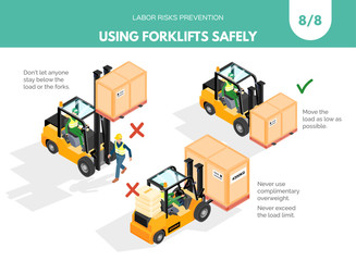 Recomendatios about using forklifts safely. Labor risks prevention concept. Isometric design isolated on white background. Vector illustration. Set 8 of 8
