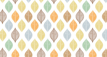 Cute vector autumn leaf pattern. Abstract banner print with leaves. Elegant beautiful nature ornament for fabric, wrapping and textile. Scrapbook black and white paper