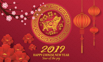 Happy chinese new year 2019 with gold pig zodiac sign paper cut art and craft style
