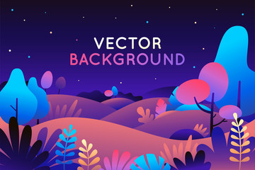 Poster Violet Vector illustration in trendy flat style and bright vibrant gradient colors - background with copy space for text - plants, leaves, trees