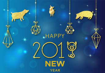 2019 chinese new year of pig concept with golden vector silhouette, glitter, foil texture, template for calendar, poster, banner, greeting card